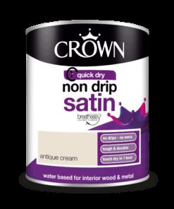 Боя за метал и дърво Crown Non Drip Satin 750 ml. Antique Cream