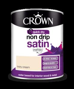 Боя за метал и дърво Crown Non Drip Satin 750 ml. Ivory Cream