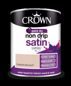 Боя за метал и дърво Crown Non Drip Satin 750 ml. Toasted almond