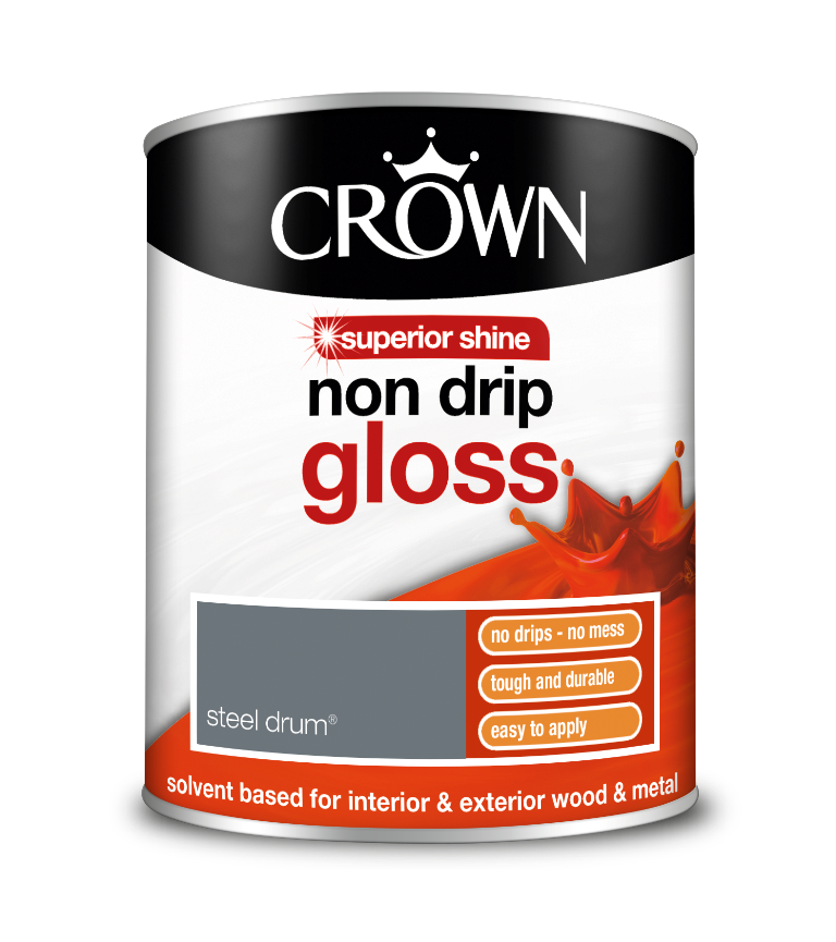 WOOD AND METAL PAINT CROWN NON DRIP GLOSS STEEL DRUM / 750